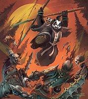 World of Warcraft Mists of Pandaria Lone Wolf and Panda Art